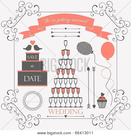 wedding vintage design elements for wedding card