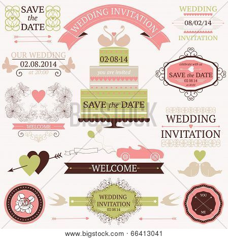 Vector collection of decorative wedding elements.