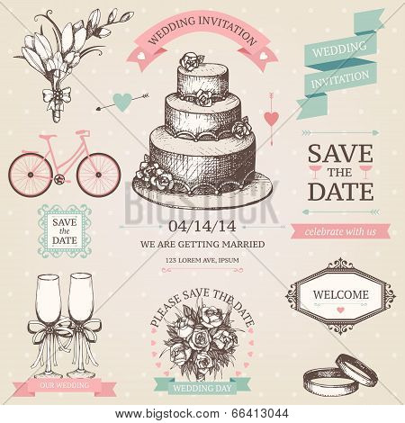 Vector Collection Of Wedding Design Elements And Hand Drawn Illustrations