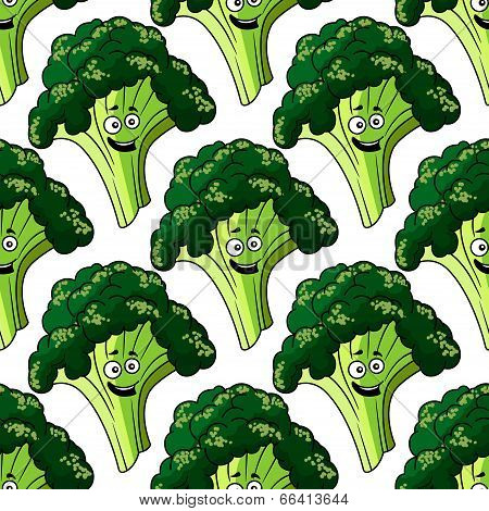Head of fresh healthy broccoli seamless pattern