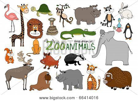 Set of hand-drawn zoo animals