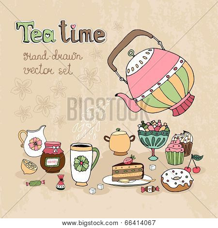 Set of hand drawn Teatime design elements