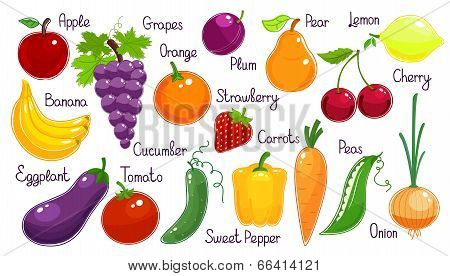 Set of vector fresh fruit and vegetables
