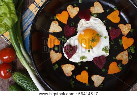 Breakfast On Valentine's Day Of  Hearts Eggs And Vegetables