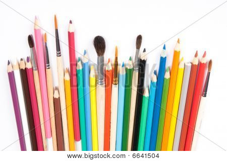 Assorted Pencils And Brushes