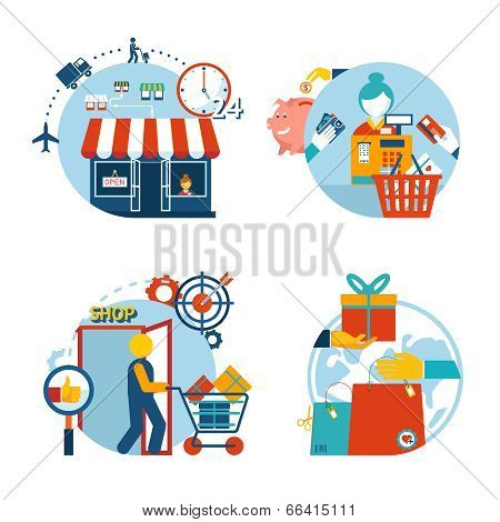 Shopping icons of a store  shopping and delivery