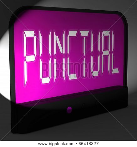 Punctual Digital Clock Shows Timely And On Schedule