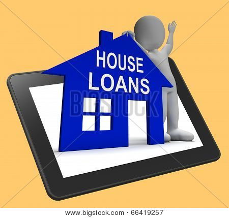 House Loans Home Tablet Shows Borrowing Repayments And Interest