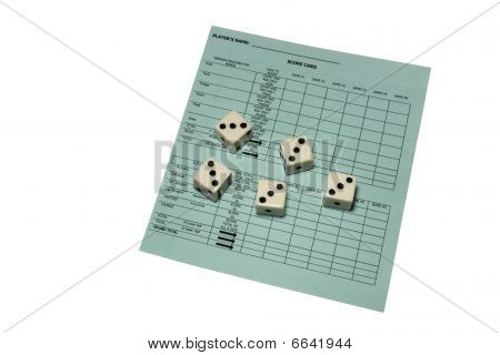 Yahtzee Scorecard And Dice