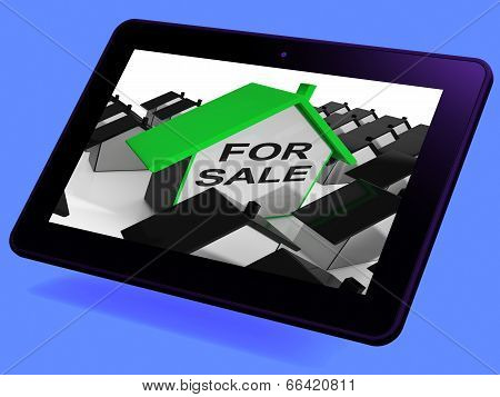 For Sale House Tablet Means Real Estate On Market