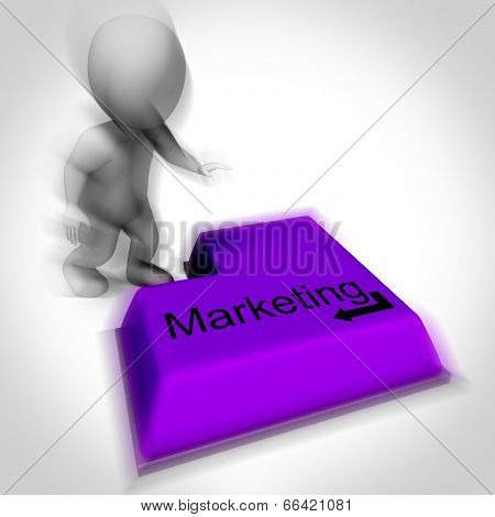 Marketing Keyboard Shows Promotion Advertising And Pr
