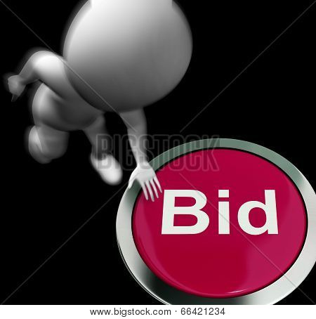 Bid Pressed Shows Auction Buying And Selling