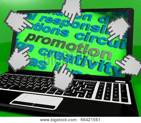 Promotion Laptop Screen Shows Marketing Campaign Or Promo