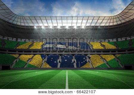 Digitally generated large farge football stadium with brasilian fans