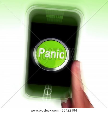 Panic Mobile Means Anxiety Distress And Alarm