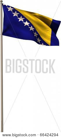 Bosnian national flag waving on pole on white background