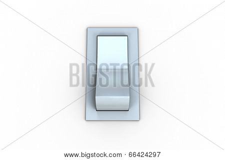 Digitally generated white flip switch on white background
