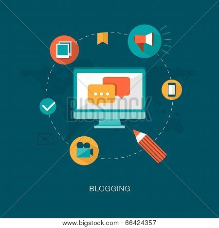 modern vector blogging concept illustration