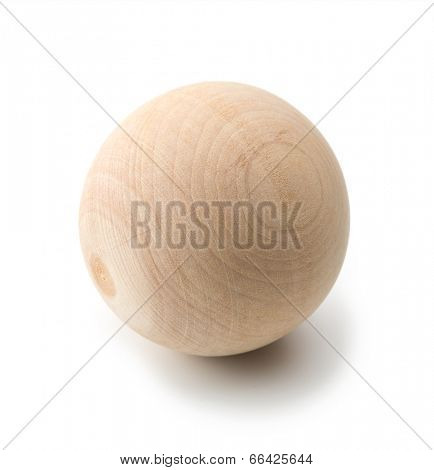 Wooden sphere isolated on white.