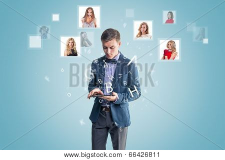 Happy business man receiving and sending message sms email. social media hightech concept