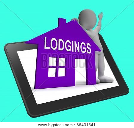Lodgings House Tablet Means Place To Stay Or Live