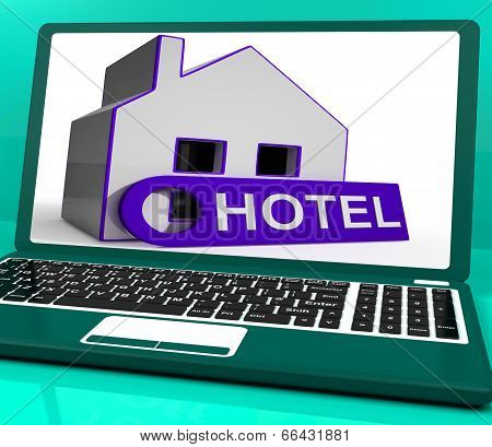Hotel House Laptop Means Holiday Accommodation And Vacant Rooms