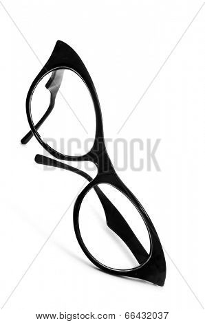 a black retro-styled eyeglasses for women on a white background