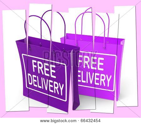Free Delivery Sign On Shopping Bags Show No Charge To Deliver