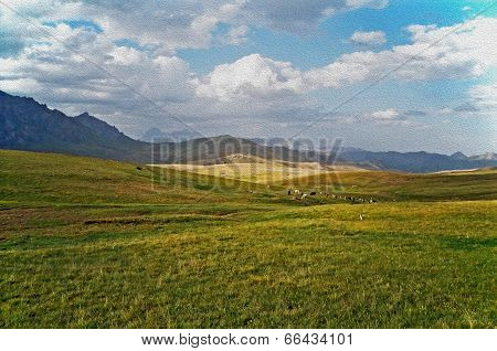 Asian Landscape -  Steppe, Cattle And Pamir Mountains, Oil Paint Stylization