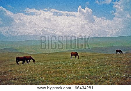 Asian Landscape -  Steppe, Sheep And Pamir Mountains, Oil Paint Stylization