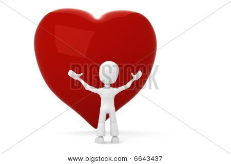 3d man shanding infront of a big red heart
