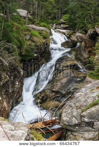 Long Exposure Photo Of A Fast Mountain Stream, , Oil Paint Stylization