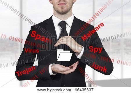 Businessman Protecting Dollar Symbol