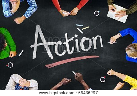 Multi-Ethnic Group of People and Action Concept