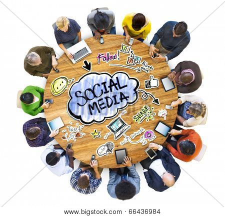 Group of People Discussing Social Media