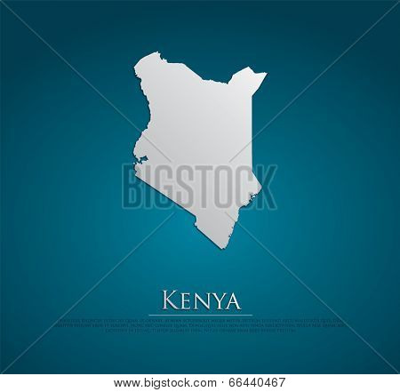 vector Kenya Map card paper on blue background, high detailed