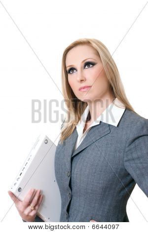 Confident Businesswoman Carrying Computer Laptop