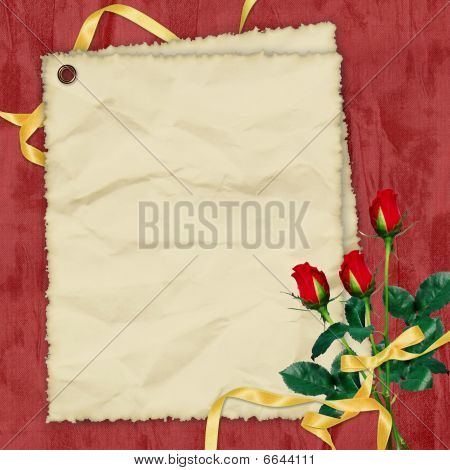 Crushed Paper With Roses And Ribbons On The Red Background