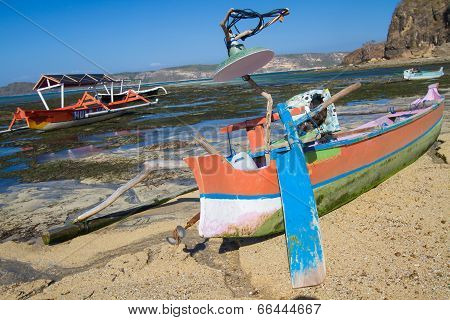 Asian Traditional Boats On The Beach.