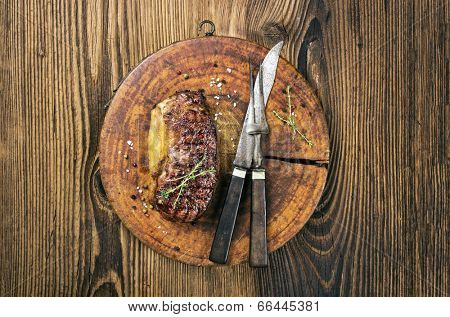 steak on the old cutting board