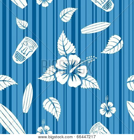 Vector seamless Hawaiian pattern with hibiscus flowers, surf boards and tiki masks