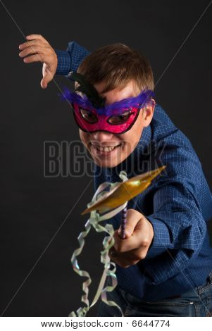 Happy Young Man In A Carnival Mask
