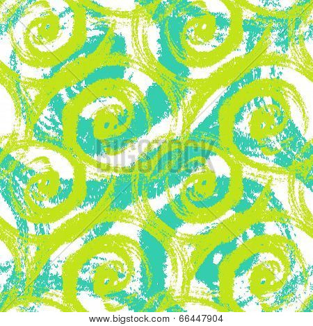 Seamless pattern with bold swirling brush strokes