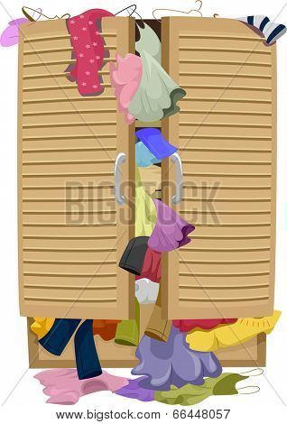 Illustration of a Closet Overflowing with Clothes