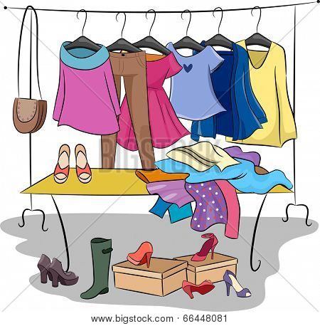 Illustration Featuring Different Items of Clothing and Accessories for Fashion Swap Parties