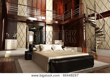 Luxury interior of an elegant bedroom