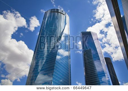 MADRID, SPAIN - MAY 28, 2014: Madrid city business centre, modern skyscrapers ,Cuatro Torres 250 met