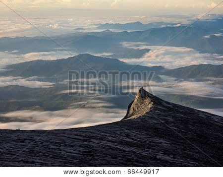 Mount Kinabalu South Peak at Sunrise in Sabah, Malaysia
