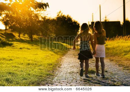 Sisters on path