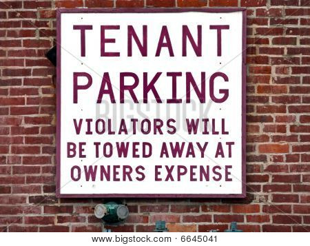 Tenant Parking Sign Brick outside Wall